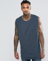 Asos Longline Sleeveless T Shirt With Drape Neck And Side Spilts Blue