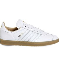Adidas Gazelle Lace Up Leather Trainers White Leather Gold