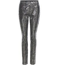 Saint Laurent Sequin Embellished Cotton Trousers Black