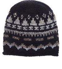 Grevi Men's Fair Isle Wool Blend Cap Navy Grey Navy Grey