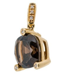 Poiray 18K Yellow Gold Smoky Quartz And Diamond Pendant Brown
