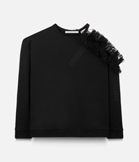 Christopher Kane Cut Away Sweatshirt With Frill Black