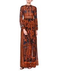 Valentino Long Sleeve Giraffe Print Sateen Gown Navy Sienna Size 0