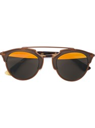 Christian Dior Dior Round Frame Sunglasses Brown