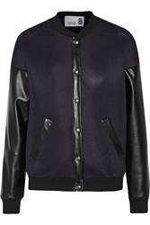 Gbp Neoprene Mesh And Faux Leather Jacket Blue