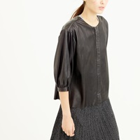 J.Crew Collection Zip Front Leather Top