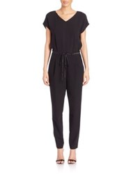 Lafayette 148 New York Columbia Cotton And Silk Jumpsuit Black