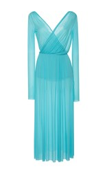 Emilio Pucci Draped Long Sleeve Midi V Neck Dress Light Blue