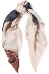 Halston Heritage Grid Printed Silk Scarf Brown