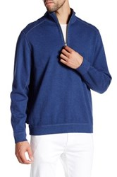 Tommy Bahama Flip Side Reversible Quarter Zip Pullover Blue