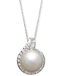 Macy's 14K White Gold Necklace Cultured South Sea Pearl 12Mm And Diamond 1 2 Ct. T.W. Pendant Black