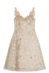 Notte By Marchesa Embroidered Organza Dress Gold