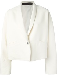 Isabel Benenato Single Button Cropped Jacket Nude And Neutrals