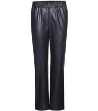 The Row Arez Leather Trousers Blue