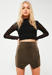 Missguided Gold Metallic Stretch Skort