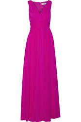 Badgley Mischka Silk Chiffon Gown Fuchsia
