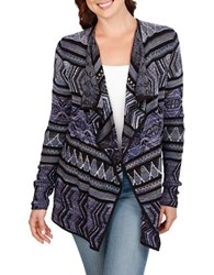 Lucky Brand Open Front Cotton Blend Cardigan Black Multi