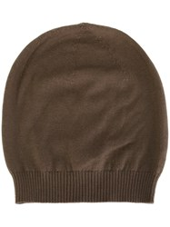 Rick Owens Ribbed Trim Beanie Brown