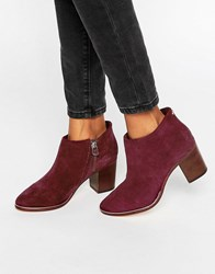Ted Baker Hiharu Suede Heeled Ankle Boots Burgundy Suede Red