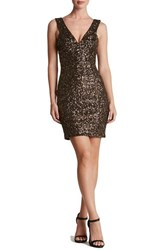 Dress The Population Women's 'Sam' Plunge Sequin Body Con Antique Gold
