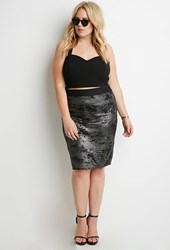 Forever 21 Plus Size Abstract Patterned Metallic Knit Skirt Black Silver