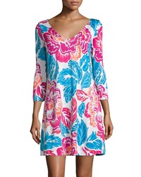 Diane Von Furstenberg Kaden Giant Floral 3 4 Sleeve A Line Dress Multi