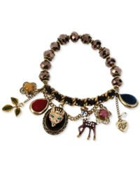 Betsey Johnson Antique Gold Tone Fox And Deer Charm Half Stretch Bracelet