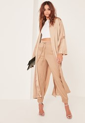 Missguided Gold Oversized Satin D Ring Detail Duster Jacket