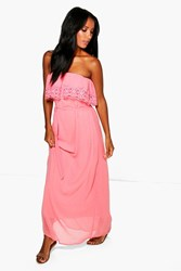 Boohoo Lace Trim Chiffon Off Shoulder Maxi Dress Coral