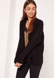 Missguided Black Cable Cardigan
