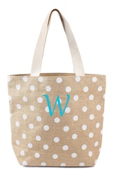 Cathys Concepts Personalized Polka Dot Jute Tote White W