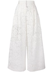 Valentino Guipure Lace Palazzo Pants Nude Neutrals