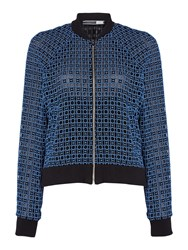 Sportmax Code Crochet Bomber Jacket With Ribbed Cuff Black
