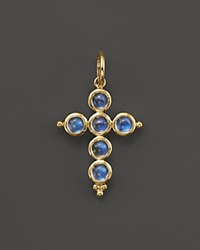 Temple St. Clair 18K Yellow Gold Small Cross Pendant With Royal Blue Moonstone