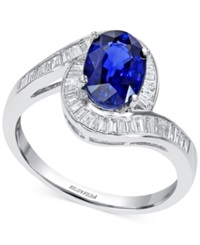 Effy Collection Effy Diffused Sapphire 1 3 8 Ct. T.W And Diamond 1 3 Ct. T.W Ring In 14K White Gold Blue