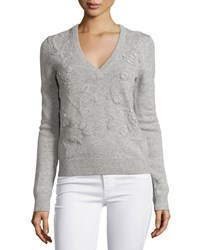 Michael Kors Cashmere Embroidered Long Sleeve Sweater Pearl Melange