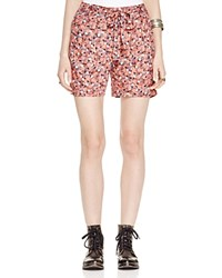Free People Layla Floral Print Shorts Blue Slate Combo