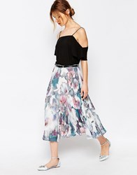 Yumi Uttam Boutique Cherry Blossom Pleated Midi Skirt With Belt Multi Colour