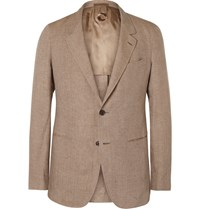 Caruso Tan Slim Fit Linen Blazer Brown