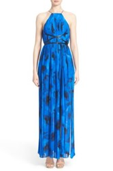 Michael Kors Floral Belted Pleated Gown Blue