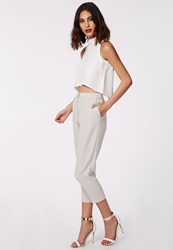 Missguided Marrie Cropped Tapered Trousers Grey Grey