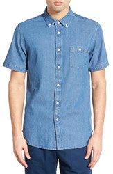 Men's Obey 'Keble' Trim Fit Short Sleeve Denim Shirt