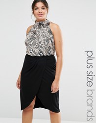 Lovedrobe Sleeveless Body With Heavy Embellishment And High Neck Silver