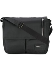Diesel Logo Patch Messenger Bag Black