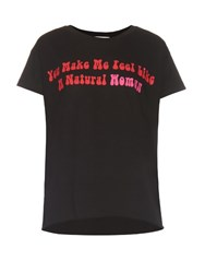 Natasha Zinko Slogan Print Cotton Jersey T Shirt Black