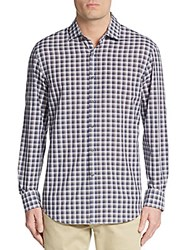 Kent And Curwen Classic Fit Plaid Sportshirt Grey