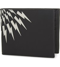 Neil Barrett Lightning Bold Leather Wallet Black White