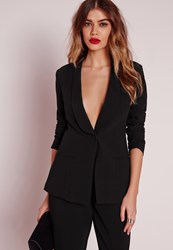 Missguided Fitted Tailored Suit Blazer Black Black