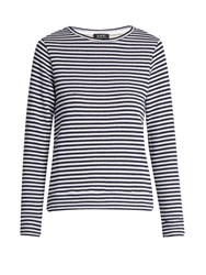 A.P.C. Long Sleeved Striped Cotton Top Navy White