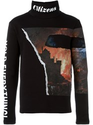 Blood Brother Printed Turtle Neck Sweatshirt Black